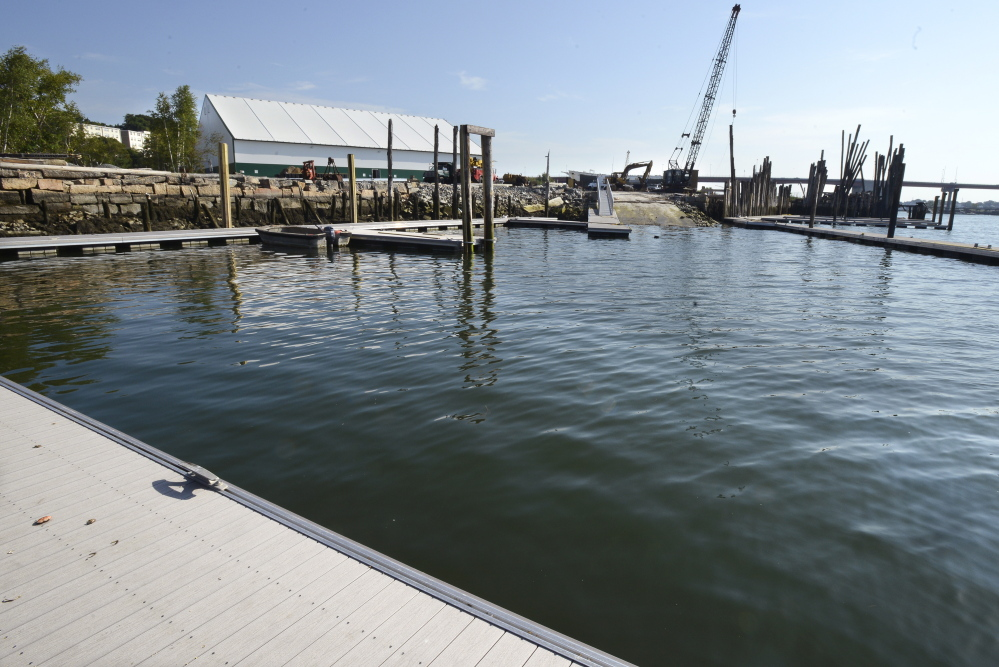 New docks, a boat ramp and a building are part of Portland Yacht Services' new yard on West Commercial Street in Portland.