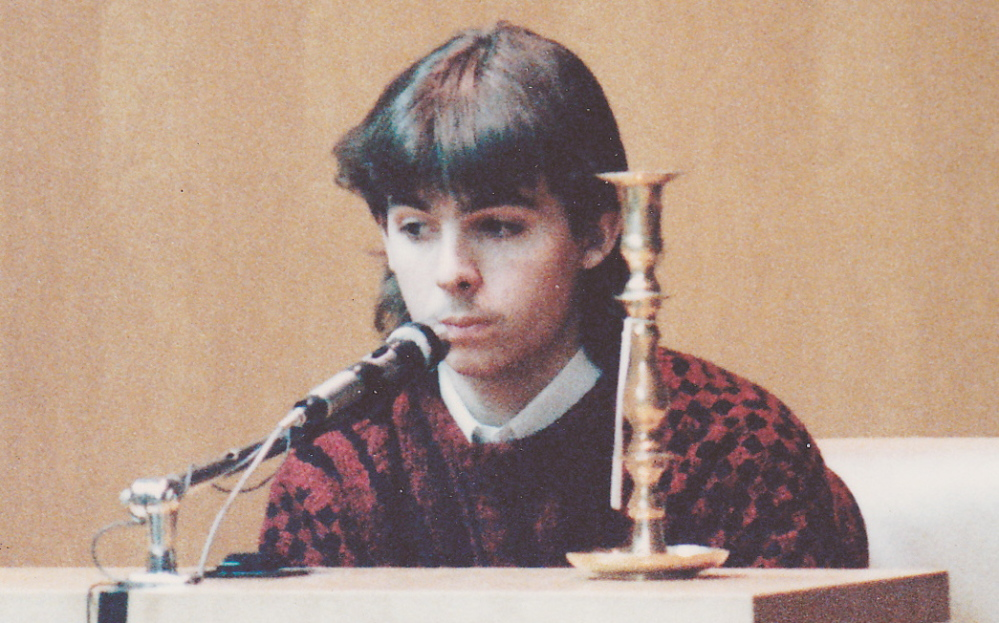 William Flynn testifies during the trial of Pamela Smart in March 1991 in Rockingham County Superior Court in Brentwood, N.H. Flynn, who was having an affair with Smart when he shot and killed her husband, Gregg, in 1990, was 16 at the time of the murder and has been in Maine's prison system since 1993.