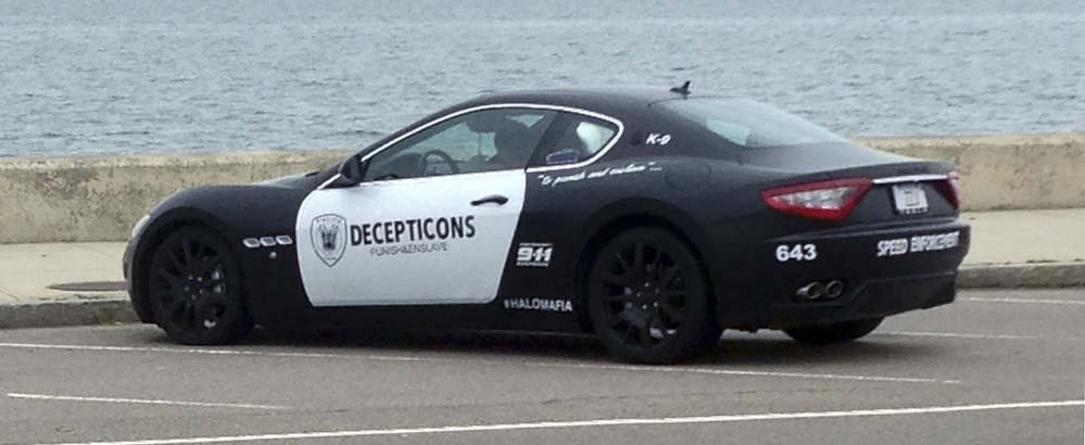 A man was pulled over Aug. 9 in Massachusetts for driving a Maserati that looks like a police cruiser.