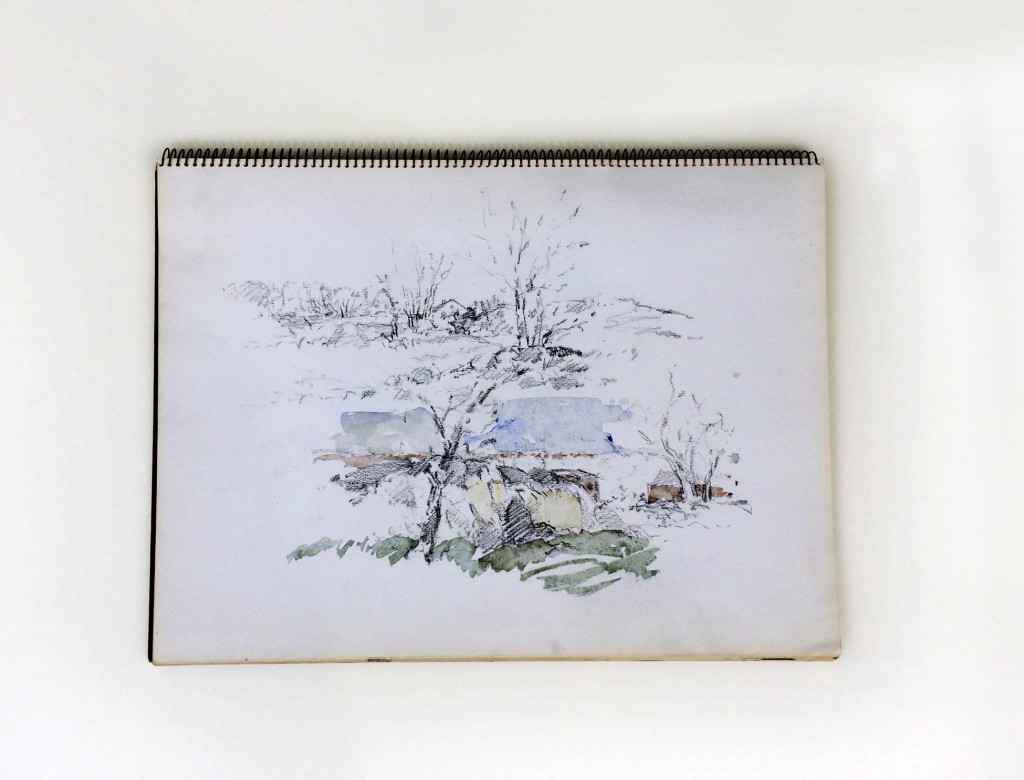 Untitled Sketchbook, pencil and watercolor on paper. Bound sketchbook of 28 pages and 30 drawings, many with touches of watercolor