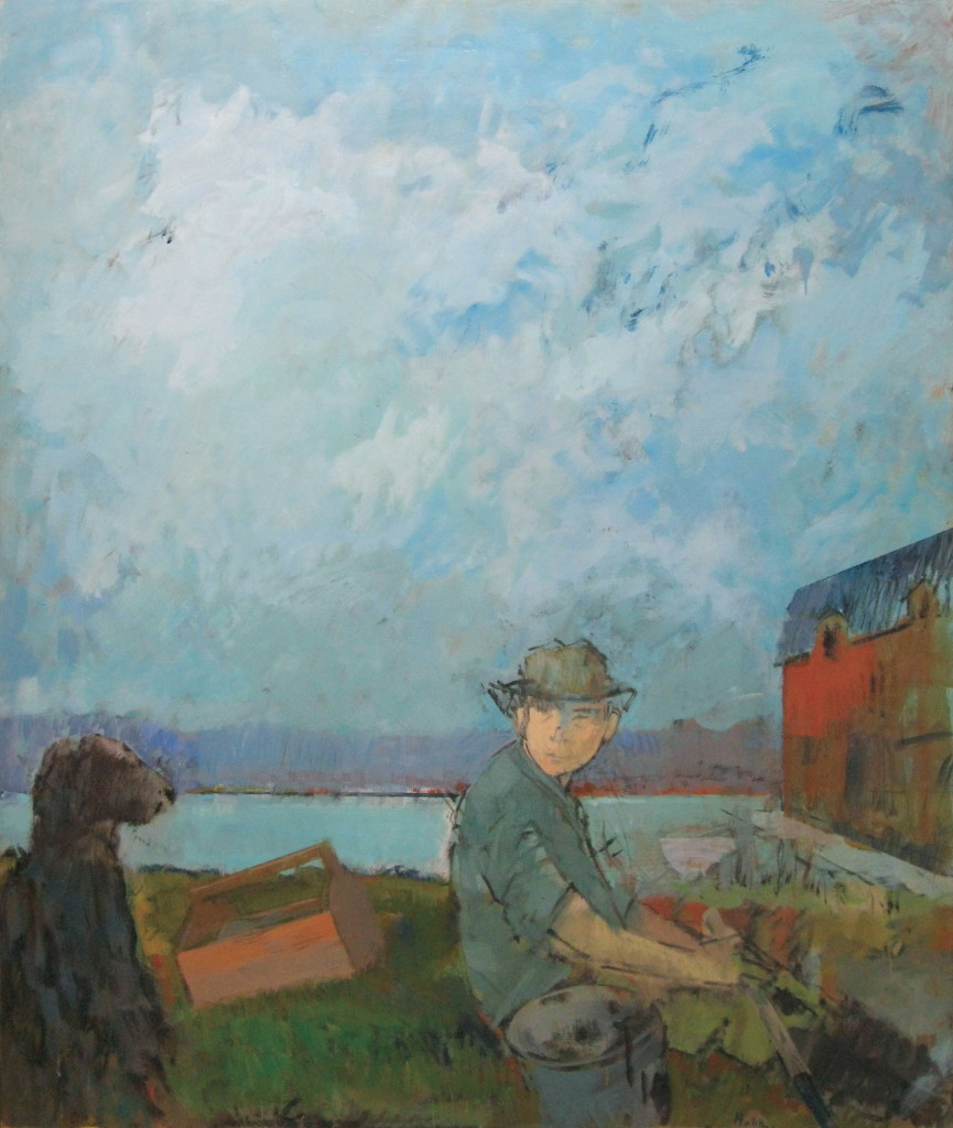 Clam Digger with Dog, 1985, oil on canvas, 60 x 50 inches