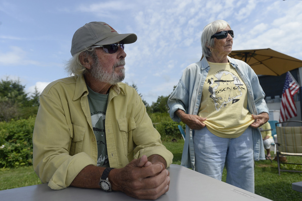 Dick and Kathy deGrasse of Islesboro speak with a reporter regarding the possible dredge.