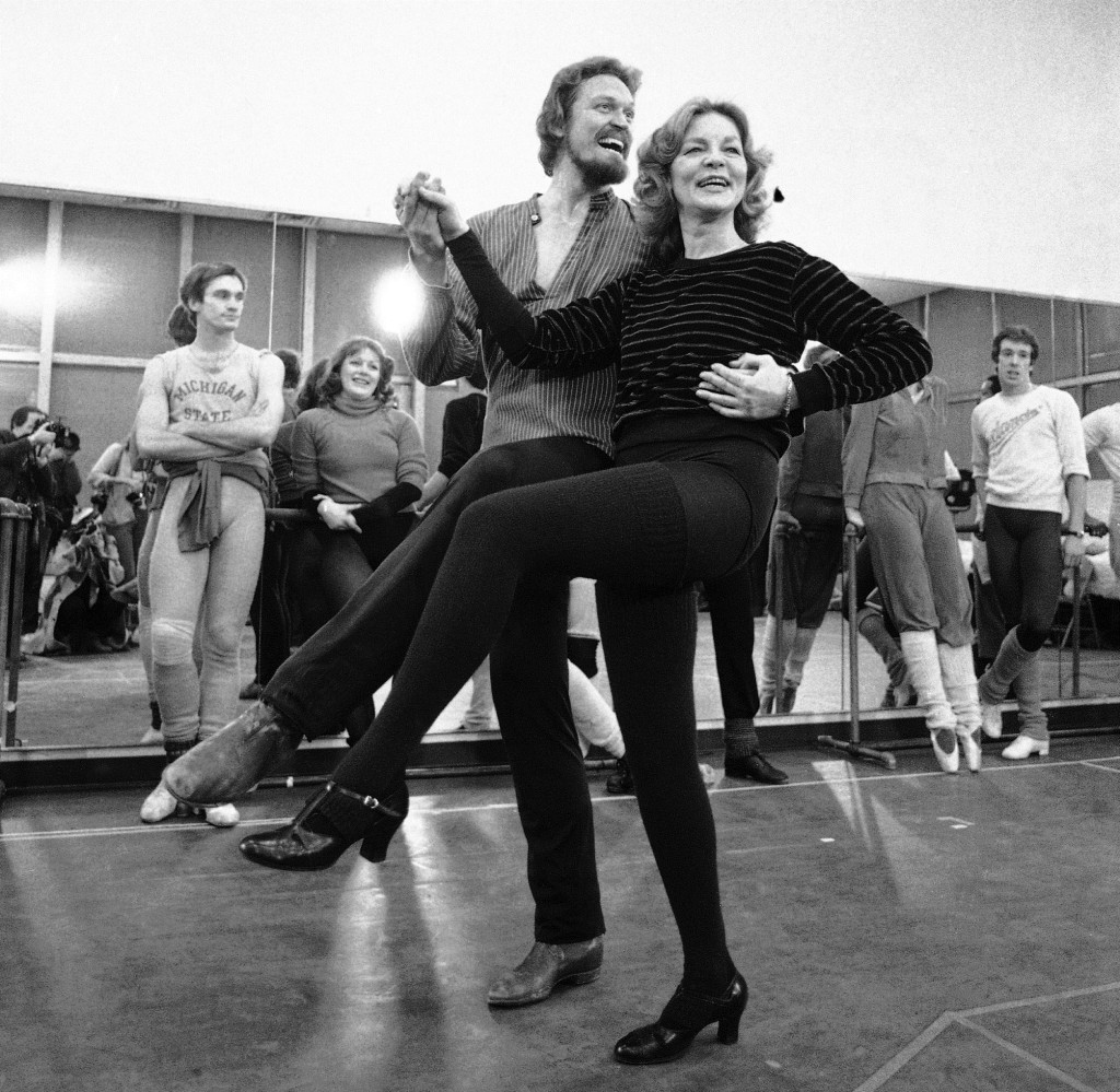 """Lauren Bacall rehearses with Eivind Harum in 1981 for the musical """"Woman of the Year"""" in New York."""