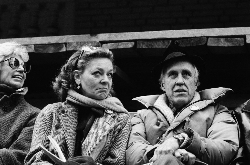 Lauren Bacall and Jason Robards attend a rally in March 1982 to save the Morosco and Helen Hayes Theatres in New York.