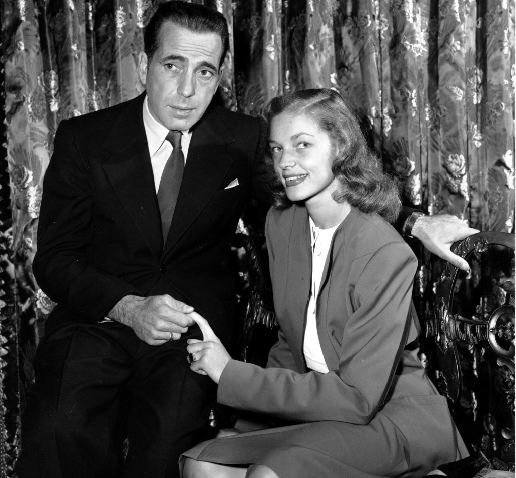 This May 1945 photo shows actor Humphrey Bogart with his wife, Lauren Bacall.
