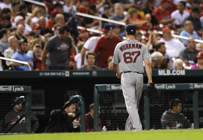 Red Sox starting pitcher Brandon Workman leaves the game in the sixth inning Thursday in St. Louis. The Associated Press
