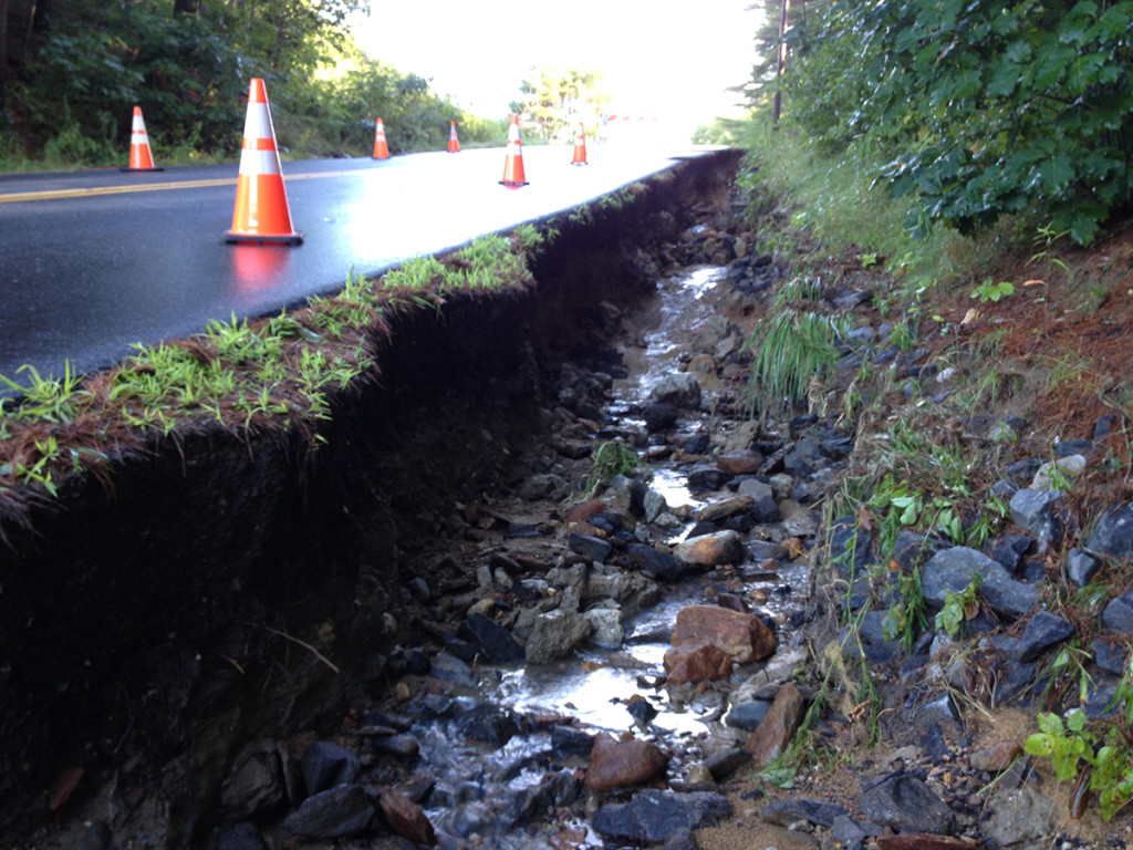 Heavy rains during an Aug. 13 storm washed out the shoulder of Upper Mast Landing Road in Freeport.