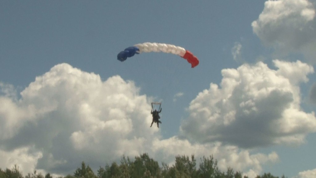 Maine first lady Ann LePage skydiving in Fort Kent. WCSH6