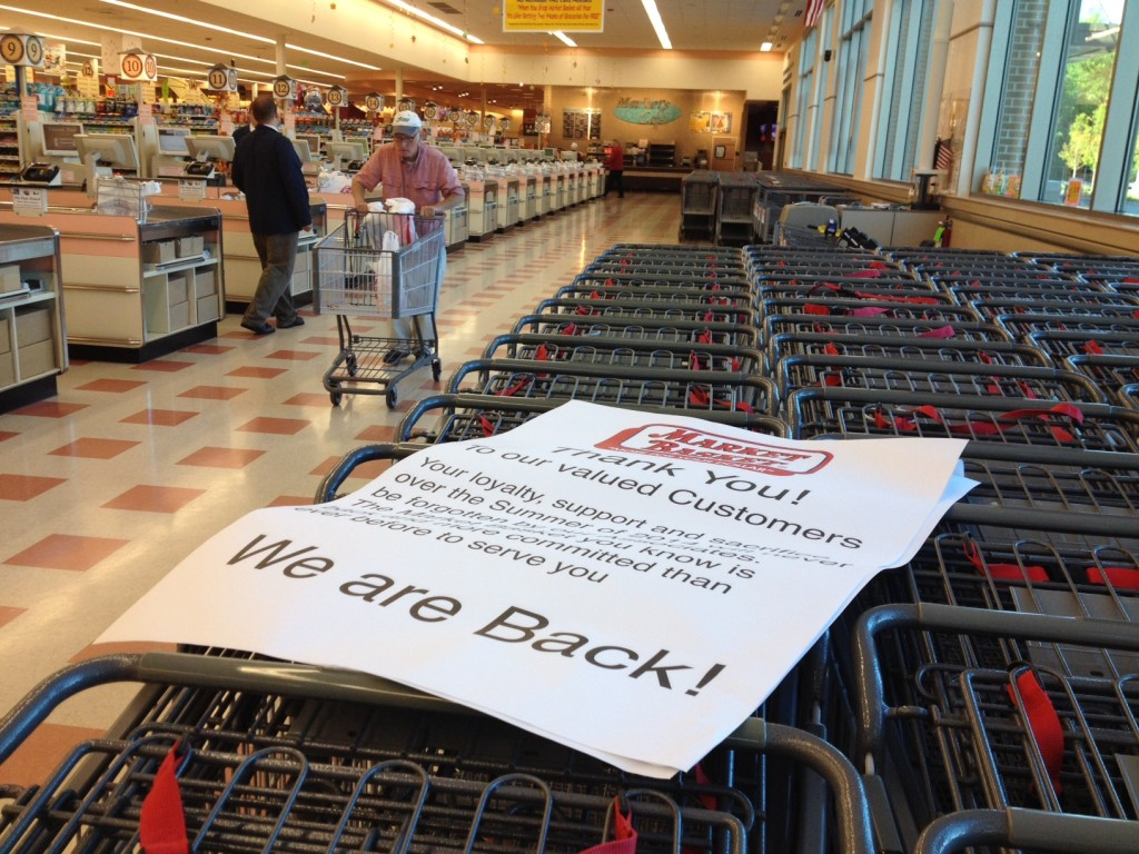 An early shopper at Biddeford's Market Basket that re-opened Thursday morning.