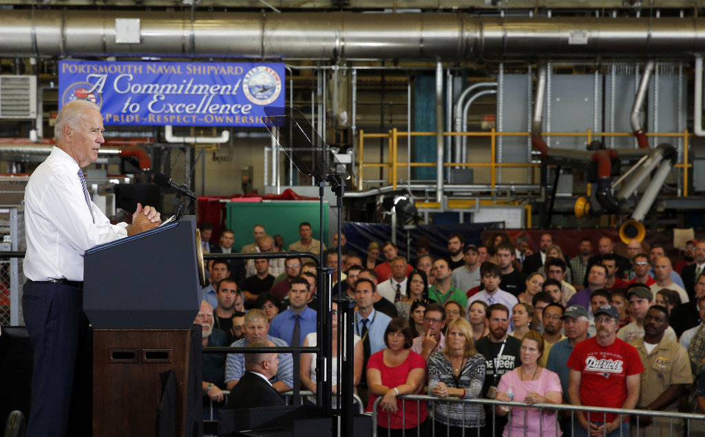 """""""The American people are so much stronger, so much more resolved than any enemy can fully understand,"""" said Vice President Joe Biden at the Portsmouth Naval Shipyard in Kittery on Wednesday."""