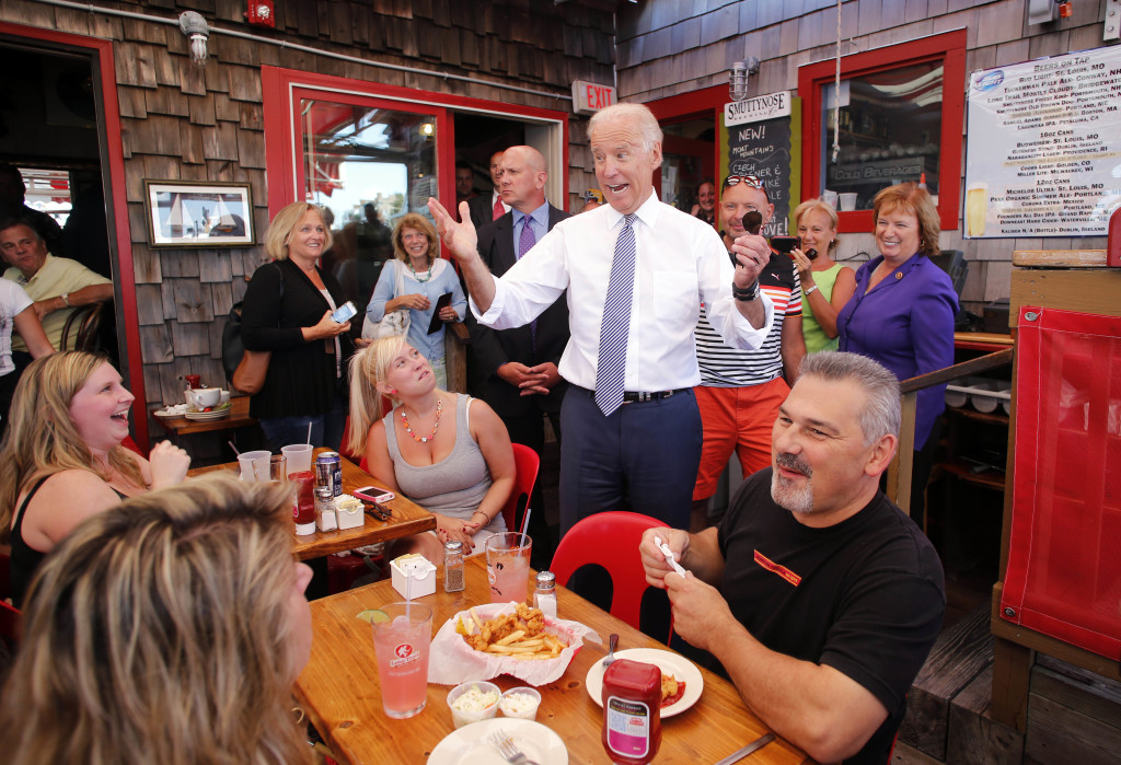 Vice President Joe Biden greets patrons at the Old Ferry Landing restaurant while making a stop for lunch in Portsmouth, N.H., on Wednesday.