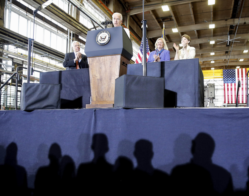 """Vice President Joe Biden told shipyard workers that the Portsmouth Naval Shipyard in Kittery is a """"centerpiece"""" of the national defense program."""