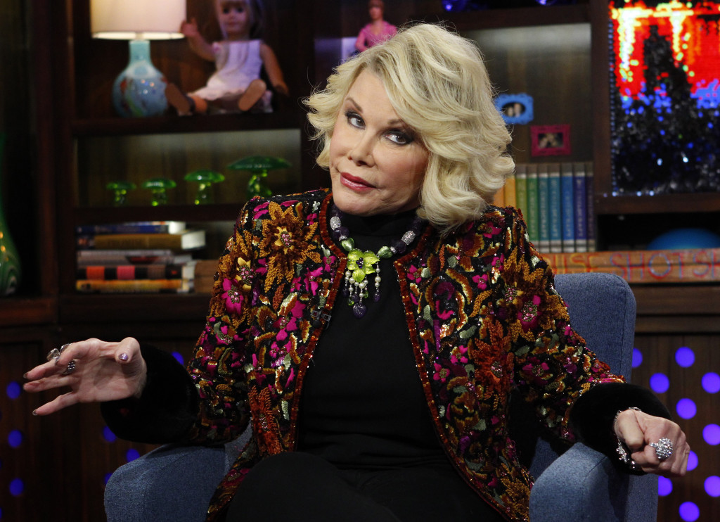 """In 2012 photo Joan Rivers appeared on the """"Watch What Happens Live"""" show in New York."""