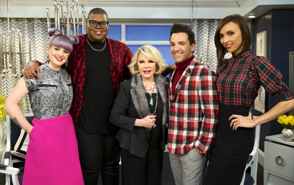 """Kelly Osbourne, EJ Johnson, Joan Rivers, George Kotsiopoulos, and Giuliana Rancic on the set of """"Fashion Police."""" Taping for Joan Rivers' E! network show """"Fashion Police"""" has been put on hold."""