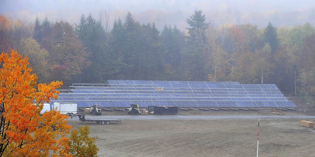 Autumn colors surround the hundreds of solar-electric panels installed at Mount Abram in Greenwood. Electricity, diesel fuel and propane account for as much as a quarter of the ski area's million-dollar budget.