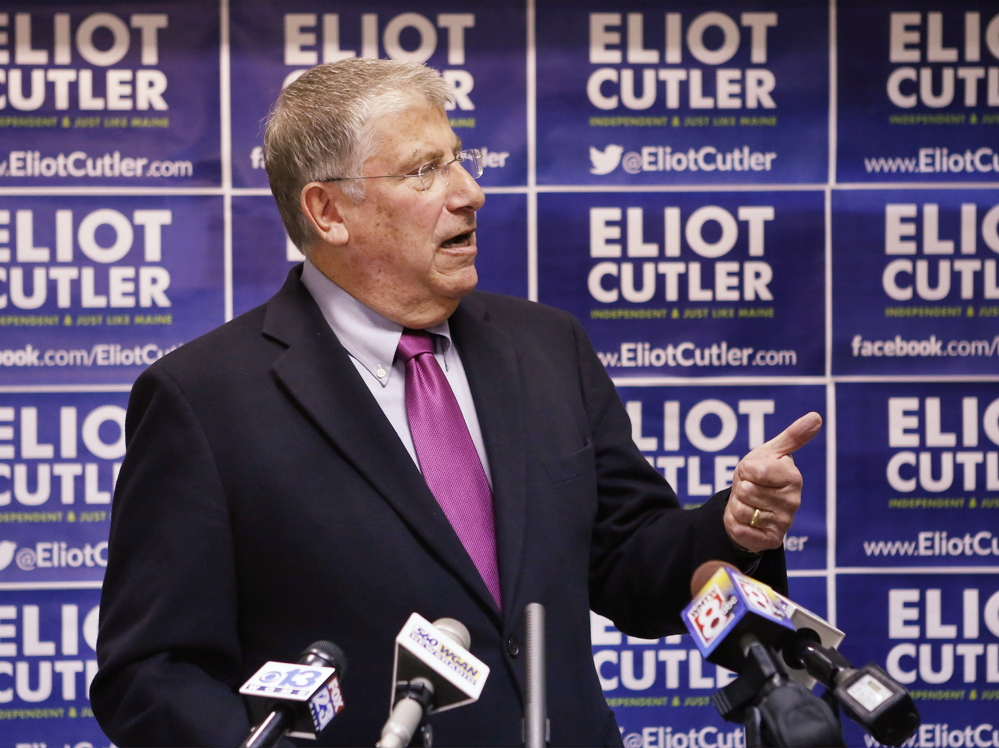 """Independent Eliot Cutler, at his headquarters Tuesday in Portland: """"I am not standing down ... and neither should those voters whose consciences compel them to ... vote for me."""""""