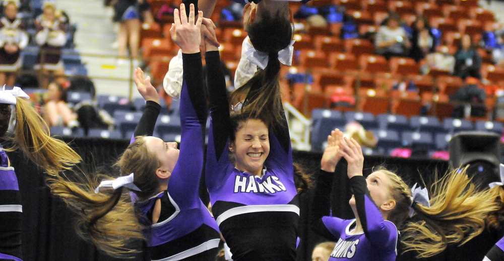 Marshwood High School performs a stunt during the Western A championships Monday. Andy Molloy /Kennebec Journal