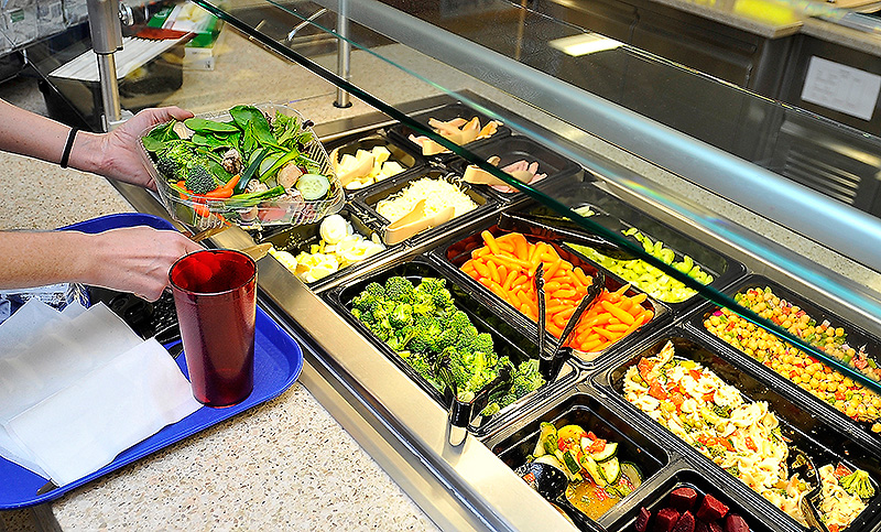 This salad bar is part of the improved food service at the Maine General Medical Center.