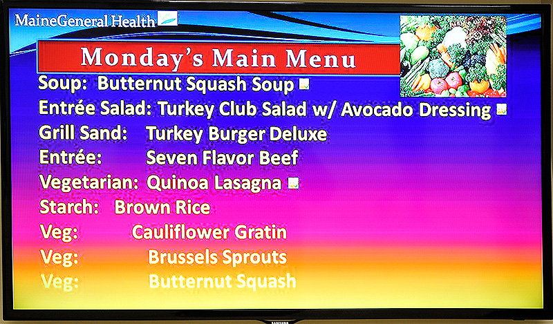 A menu marquee at the cafeteria in the Maine General Medical Center demonstrates the hospital's commitment to serving healthier food.