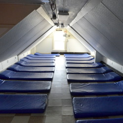 Cramped quarters for men at the Oxford Street Shelter in Portland.