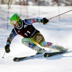 Curtis Paradis of Biddeford makes his way down the slalom course at Mt. Abram during the Class A skiing state championships in February. Paradis won the giant slalom this year to finish his high school career with three state titles.