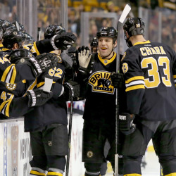 Bruins left wing Milan Lucic, center, is congratulated by teammates including Zdeno Chara, 33, and Zach Trotman after scoring his first of two goals in the first period Saturday at Boston.