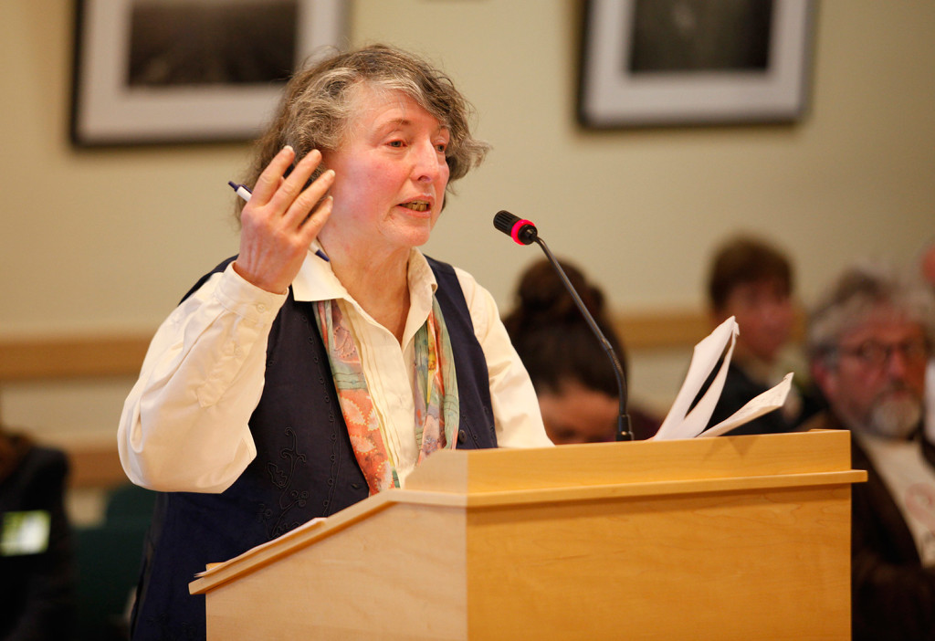 Nancy Odin, an organic farmer, speaks Thursday before the legislative agriculture committee about two bills regarding Maine's GMO labeling law.