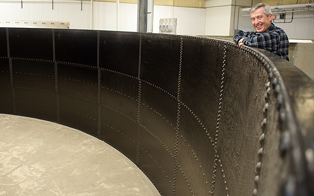 Ed Robinson, CEO of Acadia Harvest, plans to fill this 360,000-gallon steel and concrete tank with 30,000 to 40,000 California yellowtail, a warm-water fish prized in sushi restaurants. The tank is located at the University of Maine Center for Cooperative Aquaculture Research in Franklin.