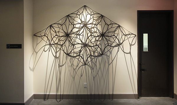 A sculpture by Maine artist John Bisbee is one of the commissioned artworks in The Press Hotel in Portland, shown in this May 4, 2015 photograph.