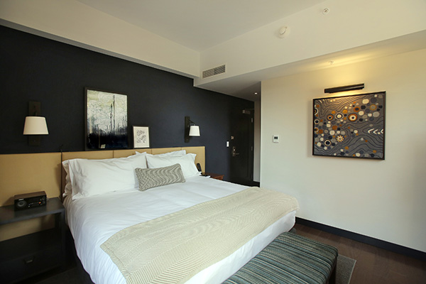 This guest room at The Press Hotel, pictured on May 4, 2015, once was the conference room where the daily news budget meeting was held.