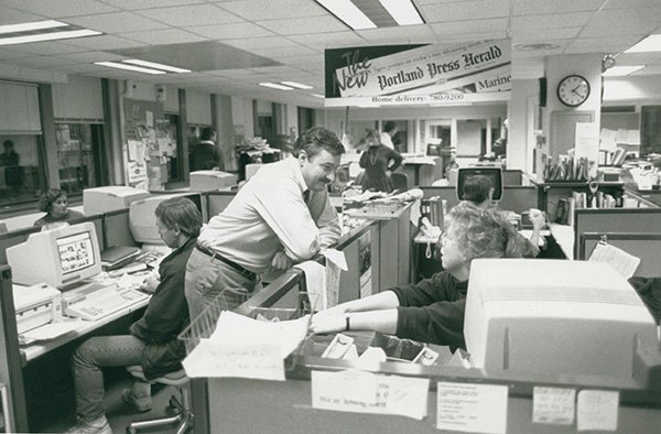 FILE: Election night in the newsroom on the second floor in 1992 at the old Portland Press Herald building on Exchange Street. Lou Ureneck, executive editor in pictured in the middle.