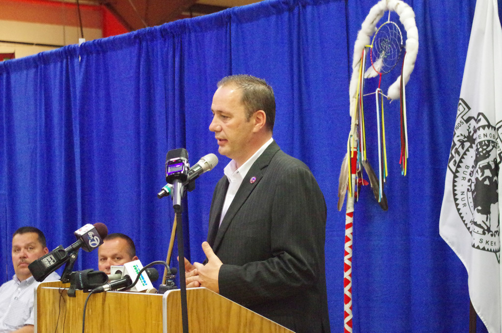 Penobscot Chief Kirk Francis speaks at Wednesday's press conference on the Penobscot reservation at Indian Island. He said,