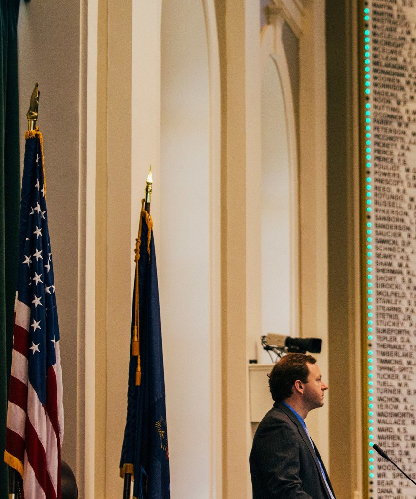 Votes light up on a board behind House Speaker Mark Eves as lawmakers vote to override Gov. Paul LePage's budget veto at the State House in Augusta on Tuesday.