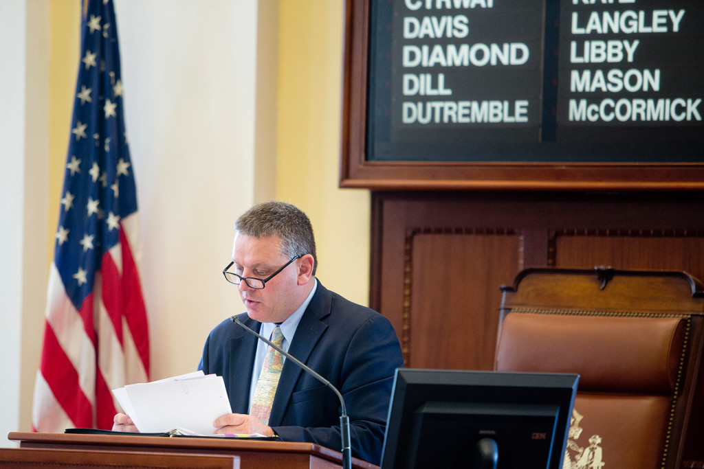 Maine Senate President Michael Thibodeau, R-Winterport, speaks after the Senate voted to override Gov. LePage's veto of the budget Tuesday.