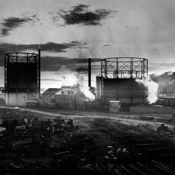 Sunset at the Portland Gas Light Co. complex on West Commercial Street, Portland, on Feb. 19, 1956.
