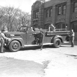 Portland Fire Department Engine 8, in front of central fire station on Congress Street, 1953.