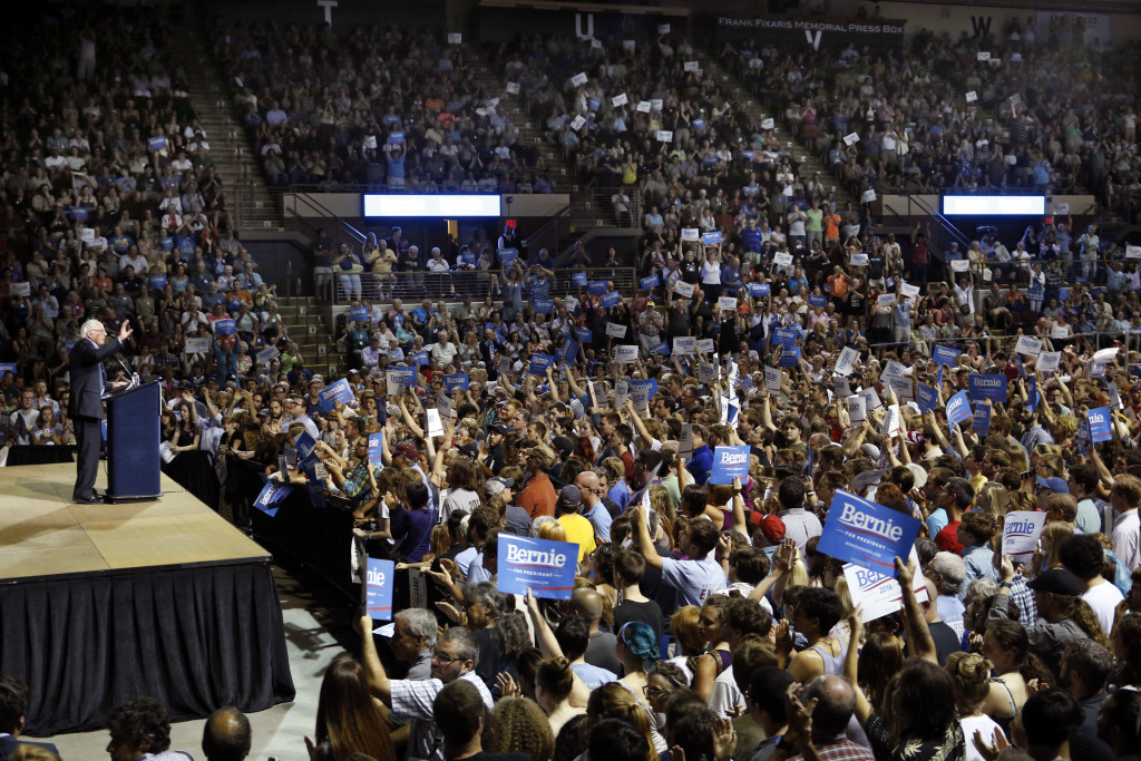 Monday night's campaign appearance by Democratic presidential candidate Bernie Sanders of Vermont packed the Cross Insurance Arena.