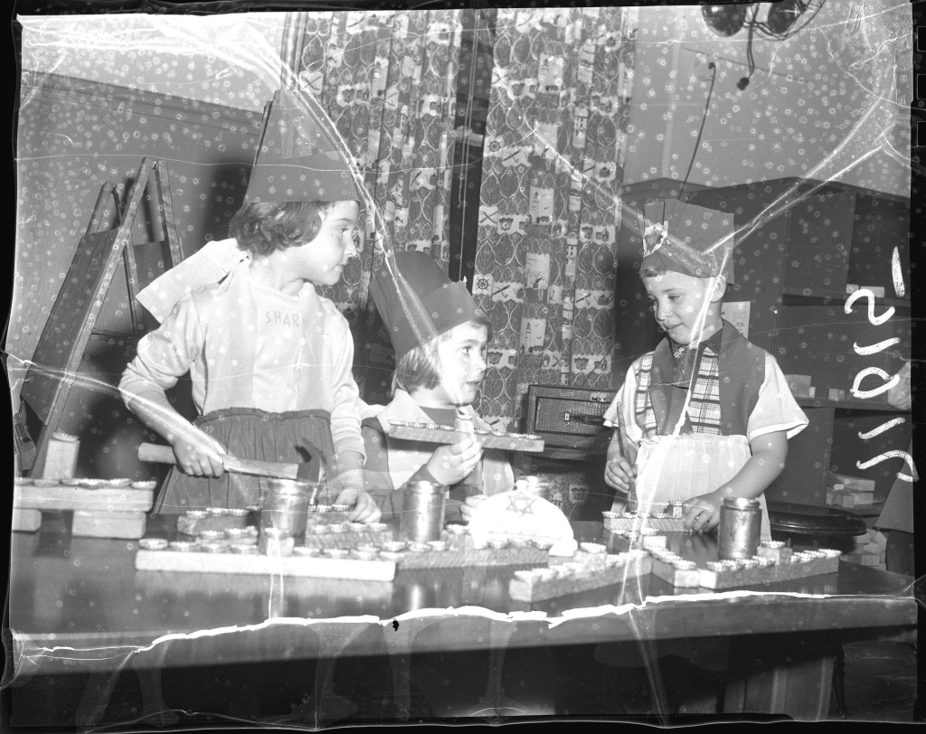 Jewish children make menorahs, Dec. 12, 1952. From the Portland Public Library archival collection of Portland Press Herald, Maine Sunday Telegram and Evening Express photos.