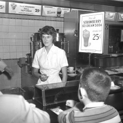 Flashback: a waitress works the lunch counter at F.W. Woolworth's on Congress Street in downtown Portland.