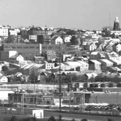 Flashback: a view of Munjoy Hill from the upper floors of USM's Glickman Library, published in the January 25, 1990 edition of the Portland Evening Express, accompanied a story about stepped-up inspections programs in the Bayside neighborhood.