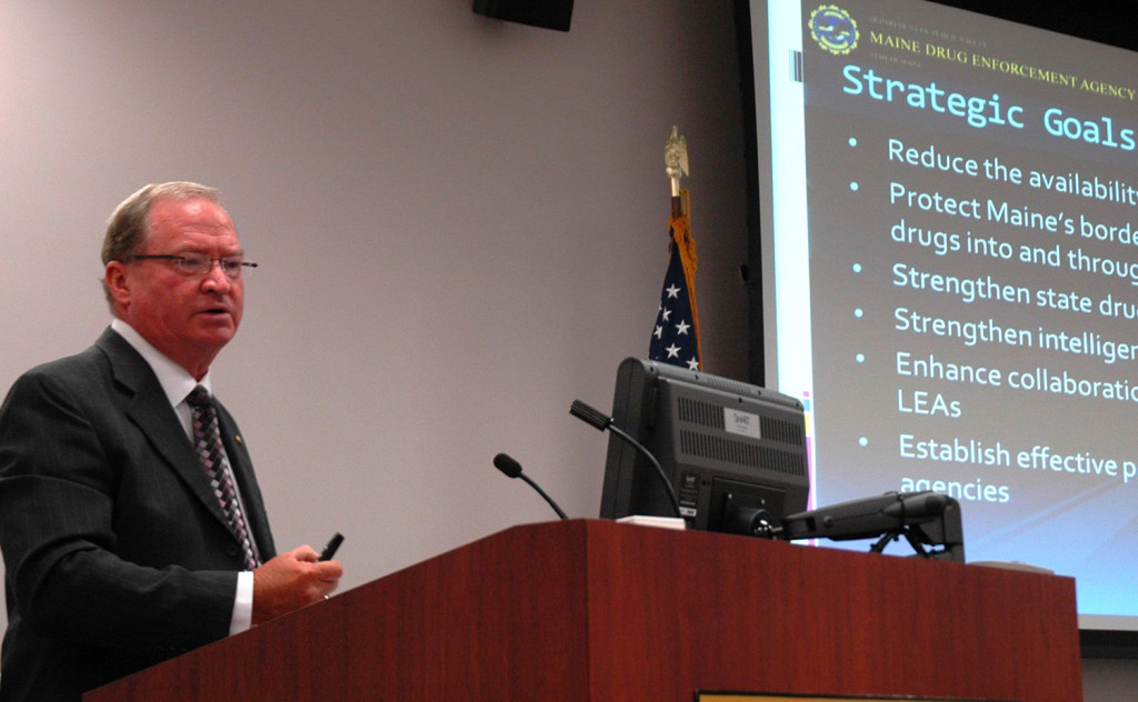 Roy McKinney, director of the Maine Drug Enforcement Agency, speaks at Wednesday's meeting on Maine's drug crisis. He said the National Guard is already working with his agency and he doesn't know how many more guardsmen will be assigned to help gather intelligence on the drug trade.