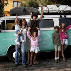 Catire Walker, center, Noel Zemborain, left, and their children, from left, Carmin, Mia, Dimas and Cala pose in front of their 1980 Volkswagen van, which they named Francisca. The family piled into the van in March in Buenos Aires, Argentina, traveling 13,000 miles to see Pope Francis in Philadelphia and attend the Festival of Families.