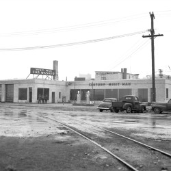 """This photograph appeared in the May 23, 1948 Maine Sunday Telegram in a full-page advertisement for the """"Minit Man Car Wash"""" grand opening, located at the Century Tire garage on Marginal Way in Bayside."""