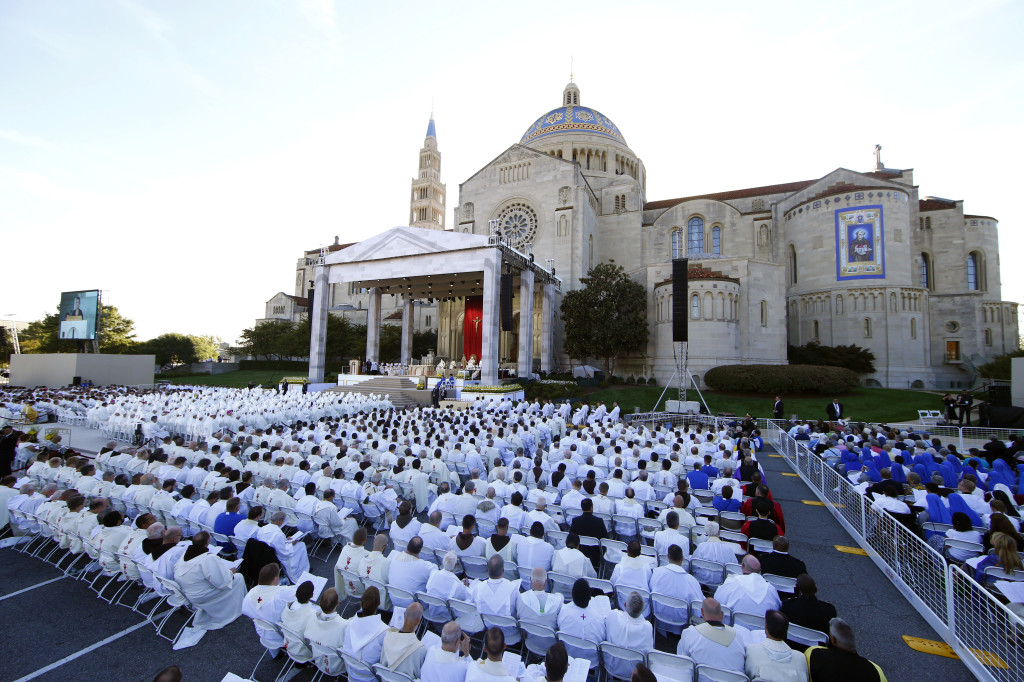 Pope Francis holds the outdoor Mass at the Basilica of the National Shrine of the Immaculate Conception in Washington, North America's largest Catholic Church.