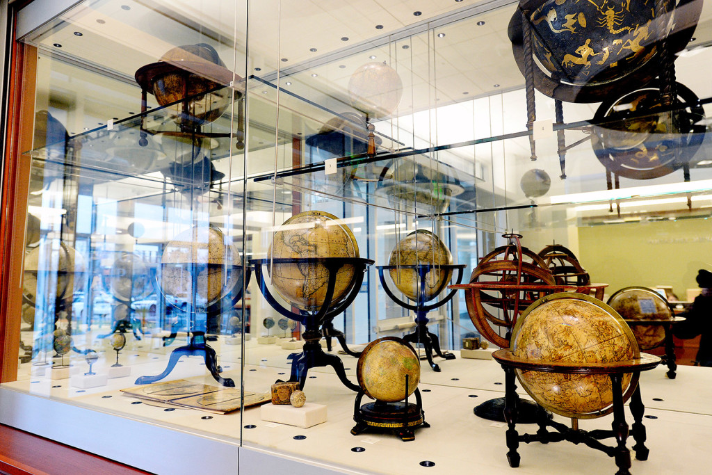 Globes from the Smith collection on display at the Osher Map Library at the University of Southern Maine.