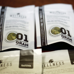 "Medical marijuana products from Wellness Connection in Portland. Becky DeKeuster, director of education for Wellness Connection, said, ""We've had a very successful dispensary program for five years now and people are becoming used to this option."""