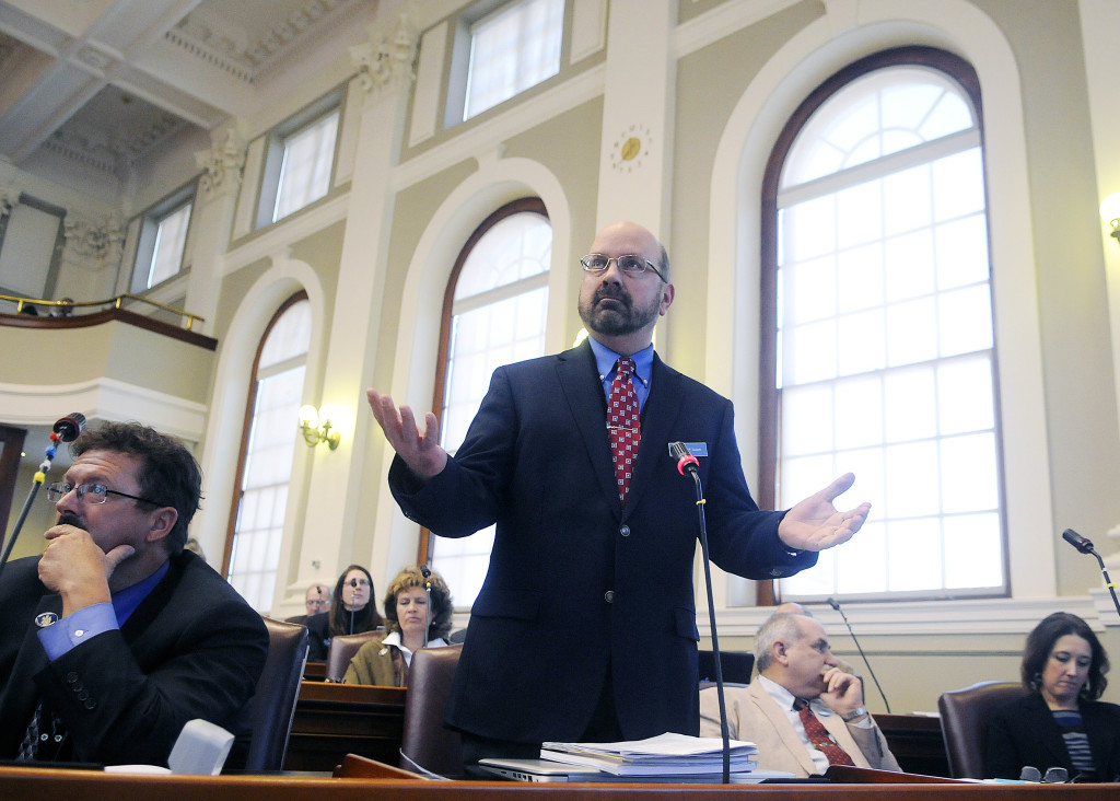 State Rep. David P. Sawicki, R-Auburn, speaks in opposition to a motion to initiate impeachment proceedings against Gov. Paul LePage in the House of Representatives in Augusta. The House voted 96 to 52 to indefinitely postpone the order, killing the measure.