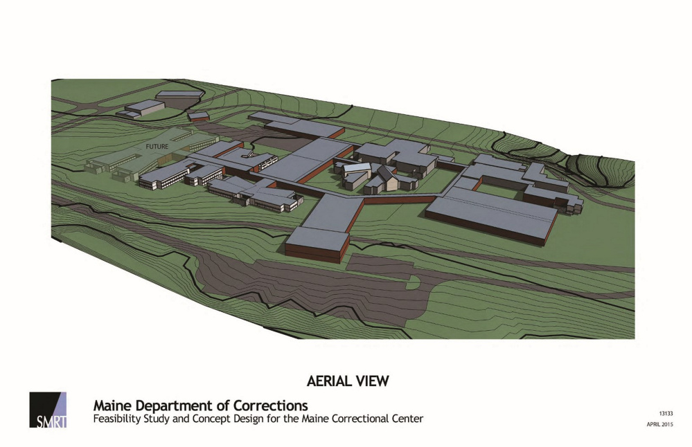 In the envisioned $173 million overhaul of the Maine Correctional center, some buildings, such as the gym and multipurpose center, would be renovated, while more outdated buildings would be demolished.
