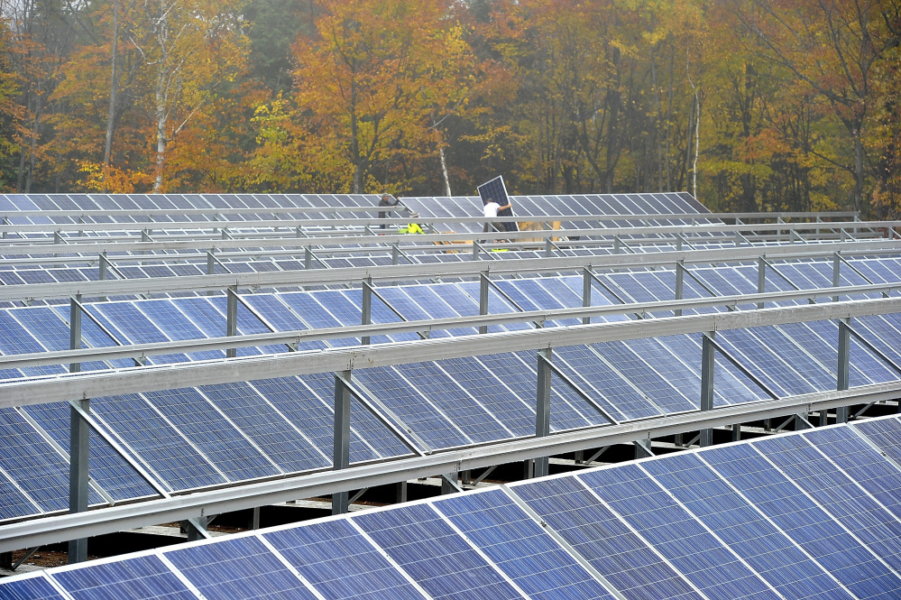 Workers installed more than 800 solar electric panels at Mt. Abram Ski Area in Greenwood in 2014, followed by the installation of 25 low-energy snow guns in 2015. The ski resort was one of many Maine businesses investing in clean energy.