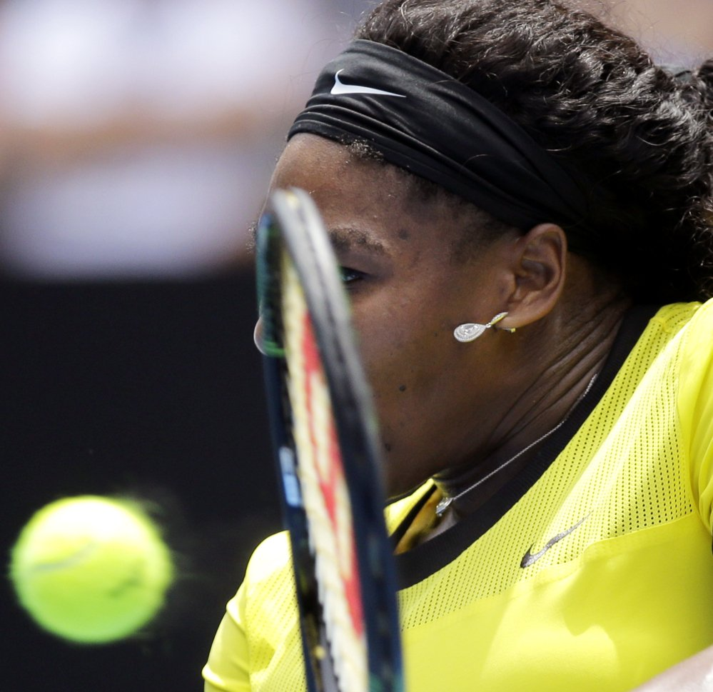Serena Williams, sporting a bright neon outfit she designed herself, hasn't lost a set at the Australian Open this year and faces Angelique Kerber early Saturday morning in the final.